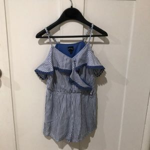 Girls cold shoulder blue & White Striped romper